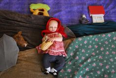 "Creative photography project ""The Bonnie Days"" Title: Rödluvan ( Little red riding hood) ©Linda Skoog Törncrantz #photography # Portraits #kids #art #fun #creative #D.I.Y #babies"