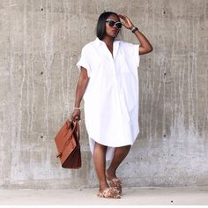 Shop Your Screenshots™ with LIKEtoKNOW.it, a shopping discovery app that allows you to instantly shop your favorite influencer pics across social media and the mobile web. White Tunic Dress, Sexy White Dress, Midi Shirt Dress, The Dress, Long Shirt Outfits, Safari Dress, Professional Dresses, Black Girl Fashion, African Attire
