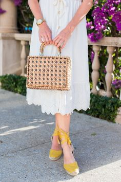 White Button Front Midi Dress for Summer | Basket Bag | Yellow Castaner Espadrilles | West Palm Beach, Florida | Sunshine Style