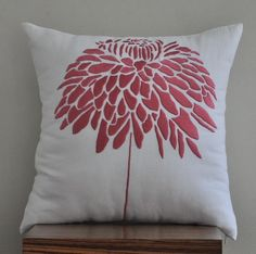 coral flower embroidered pillow cover