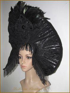 Coiffe Couronne Diadème Lotus Asiatique Victorienne Gothique Gothic Victorian Vampire Headdress  - serre-tête - DeLorean  - Fait Maison Gothic, Headdress, Delorean, Wreaths, Costumes, Headpieces, Halloween, Lotus, Inspiration