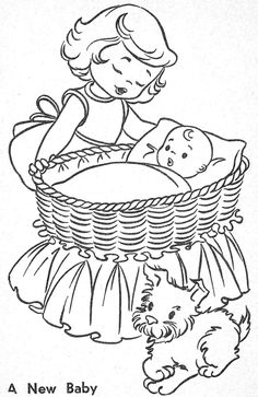New Baby - Coloring Page Baby Coloring Pages, Coloring Pages To Print, Coloring Sheets, Kids Colouring, Hand Embroidery Patterns, Vintage Embroidery, Embroidery Stitches, Vintage Coloring Books, Art Drawings For Kids