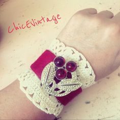 Vintage Red Cowhide Repurposed Crochet Bracelet I designed this bracelet out of dyed red cowhide and vintage crochet lace and brooch. Snap closure. All pieces are vintage and are sold as is. ChicEVintage Jewelry Bracelets