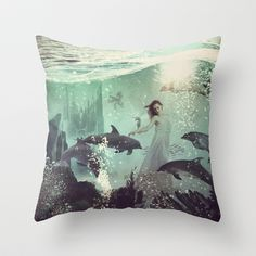 "The Sea Unicorn Lady by Paula Belle Flores THROW PILLOW / INDOOR COVER (16"" X 16"") $20.00"