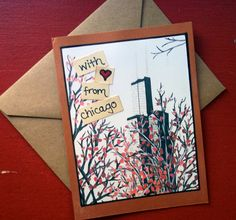 Great Chicago, windy city souvenir card!   With Love From Chicago Willis Tower Card Copper by PageFree, $4.00