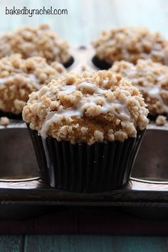Moist pumpkin streusel muffin recipe from @bakedbyrachel