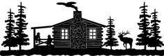 CABIN SCENE WITH ELK &ampCOWBOYS ON PORCH WS02 Clipart