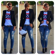 OOTD: Zara Blazer + God Can Tee details and links @ mimigstyle.com #zara #casual…