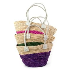 Colorful straw bags for summer. #straw #bag Szaleo.pl | Be new fashioned & accessorized!