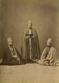 Three Mevlevi (Dervish) performers.  Istanbul, ca. 1880.  (Photographer: Sebah, Pascal).