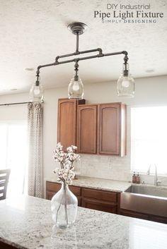 Kitchen Lighting Ideas DIY Industrial Pipe Light Fixture - a beautiful DIY pendant light Industrial Style Lighting, Pipe Lighting, Farmhouse Lighting, Unique Lighting, Lighting Ideas, Pendant Lighting, Cheap Lighting, Table Lighting, Diy Light Fixtures