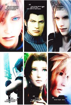 Crisis Core Quotes. Genesis, Angeal, Sephiroth, Zack, Aerith, and Cloud