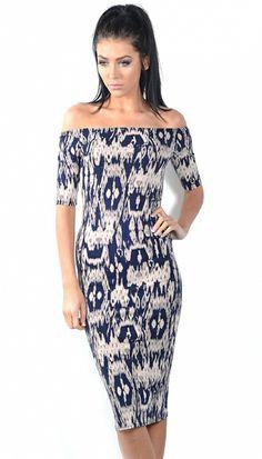 Emilia Navy/Stone Patterned Off The Shoulder Midi Dress | OMG Fashion http://www.omgfashion.com/shop/emilia-navystone-patterned-off-the-shoulder-midi-dress?attr_id=7