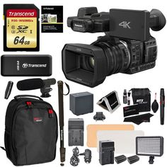 "Panasonic HC X1000 4K-60p/50p Camcorder High-Powered 20x Optical Zoom & Professional Functions + Transcend 64GB + Polaroid 72"" Monopod + LED Light + Ritz Gear Backpack + Microphone + Accessory Bundle"