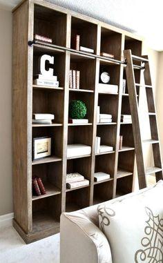 Book case restoration hardware look living room