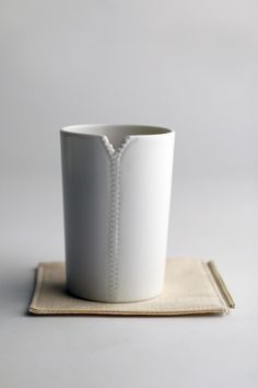 """Molla Space Zipper Cup (Set of 2): cool """"zipper"""" opening to hold tea bag (I love it when design is practical and interesting. This is a cleverly simple cup with a lot of visual interest)"""