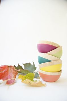 Wooden Mini Bowl Set of Five: Bright colors for Fall. $36.00, via Etsy.