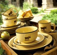 Moose Lodge Collection Dinnerware & rustic dinnerware sets clearance | ... » Rustic Cabin \u0026 Lodge ...