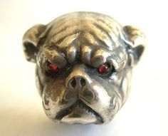 Antique Sterling Silver Hat Pin hatpin Bull Dog w Ruby Eyes Dog | eBay