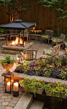 Cool evenings around a fire? All of your friends will say 'count us in'--dress up the area with a wide array of plants in window boxes that help define the space, in addition to low laying landscape beds with lots of perennial color.