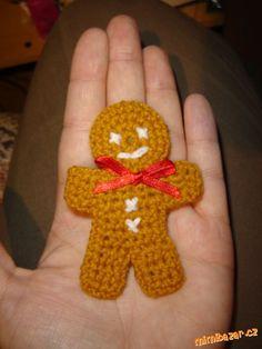 Malý perníček Gingerbread Man, Xmas, Christmas, Crochet Necklace, Mini, Advent, Navidad, Navidad, Noel