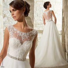 Wv442 moda New Design ver através Lace Top com frisada Belt A linha Lace Wedding Desses 2014 New Arrival em Vestidos de noiva de Casamentos e Eventos no AliExpress.com | Alibaba Group