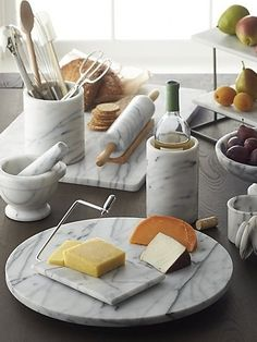 Practical, spinning French kitchen marble lazy susan is sized generously to take assortments of desserts, snacks, dips and sauces for a spin. Because marble is a natural product, veining and coloring Kitchen Items, Kitchen Utensils, Kitchen Gadgets, Kitchen Decor, Kitchen Ware, Crate And Barrel, Vase Deco, American Kitchen, Decorating Kitchen