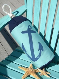 Buoy bumper indoor outdoor pillow 23 anchor aqua by crabbychris, $38.00