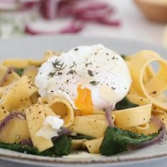 Fettuccini with Winter Greens and Poached Egg is an easy, budget friendly dinner.