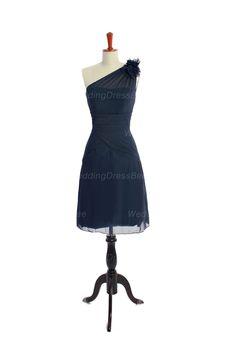 One shoulder A-line tea-length chiffon bridesmaid dress