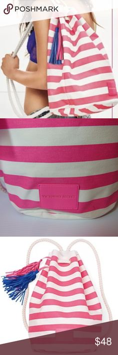 "NEW RARE VS Pink & White Striped Backpack LARGE RARE ~ NEW NIP ~ SUPER CUTE Victorias Secret Oversized Extra Large Drawstring Rope Backpack Beach Vacation Shopping Pool Tote Bag.  Pink White Striped. This is a large Bag that will hold LOTS and LOTS of stuff!   Canvas Exterior & Waterproof lining.  This bag would also make a great vacation bag or a market bag. It would be great for a day at the beach or pool or out on the boat.  15.5"" H X 11"" L X 7"" D.  SAME DAY SHIPPING VS20DBP Victoria's…"