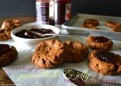 Crisped Rice Peanut Butter and Jam Thumbprint Cookies