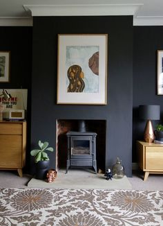 A Living Room Update - making spaces - Crown Night Fever Black walls make the art work pop in Making Spaces' living room - Dark Living Rooms, Living Room Update, Home Living Room, Living Room Designs, Living Room Decor, Dark Rooms, 1930s Living Room, Log Burner Living Room, Chimney Decor