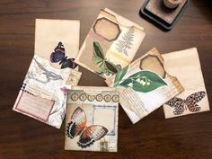 Today I'm re-thinking uses for envelopes and making quick and easy pouches and journal cards. These are super easy to put together and. Journal Cards, Junk Journal, Minis, Vintage Paper Crafts, Envelope Art, Envelope Templates, Altered Books Pages, Art Journal Techniques, Book Folding
