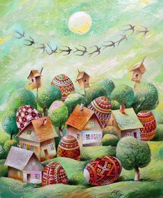Ukrainian Art ~ Thought this was a good one to post for Easter Sunday 2016 Easter Illustration, Happy Easter Day, Ukrainian Art, Easter Art, Egg Art, Naive Art, Russian Art, Vintage Easter, Holidays And Events