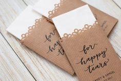 Tissue Wedding Favours kraft paper - For happy tears - Unique Tissue Wedding Favors - Personalized Wedding - Ceremony Tissue Packets - Tears of Joy Tissue Packs - Tears of Joy Tissue Packs - Wedding Tissues - Happy Tears Packs - Rustic Chic Design - Monogram Collection - Customized