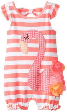 bf8493cbe63 Mud Pie Baby-Girls Newborn Flamingo Bubble Romper