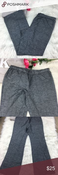 New York & Company Pants Wide Leg Linen Blend F New York and Company women's wide leg casual pants linen blend light weight drawstring waist excellent condition Laid Flat Waist 17 Rise 11 Inseam 32 New York & Company Pants Wide Leg