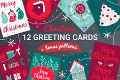 12 Christmas Cards + Bonus Patterns by miumiu on @creativemarket