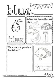 learning colors worksheets for preschoolers color blue. Black Bedroom Furniture Sets. Home Design Ideas