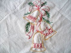 Hand Embroidered Dish Towel Embroidery Bells by VintagePlusCrafts, $10.00