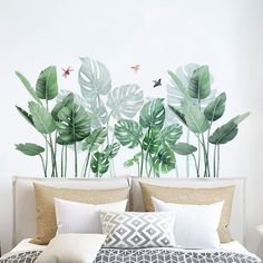Room Wall Decor, Bedroom Decor, Wall Painting Decor, Living Room Plants, Flower Wall Stickers, Window Stickers, Plant Wall, Vinyl Wall Decals, Textured Walls