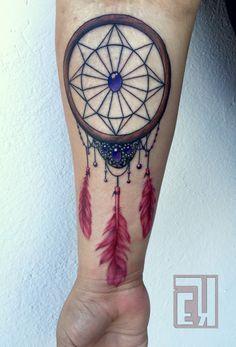 Designed & tattooed this beautiful dreamcatcher for my client last week. Thanks Emsy! #eyeKANDI #eyekandiink #ink #tattoo #tattoos #tattooartist #art #artist #ctartist #ct #norwalk #organicinktattoo #ny #nyc #newyork #color #linework #dreamcatcher #gems #beautiful #bk #geometric #feathers #realism
