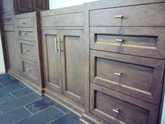 Custom vanity cabinets in maple & birch with a custom blended chocolate-y rosewood stain. Old Bathrooms, Guest Bathrooms, Amazing Bathrooms, Master Bathroom, Painting Bathroom Cabinets, Kitchen Cabinets In Bathroom, Cabinets And Countertops, Types Of Cabinets, Custom Entertainment Center