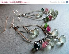 CYBER MONDAY 13% OFF In bloom earrings  with green amethysts and tourmaline on Etsy, $104.40