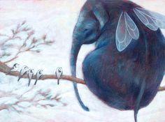 Children room art, FLYING ELEPHANT, Child illustration, Nursery print, Kids Baby gift, Elephants Decor
