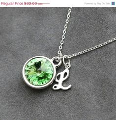 Hey, I found this really awesome Etsy listing at http://www.etsy.com/listing/155604797/initial-birthstone-necklace-august
