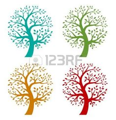 colorful: Set of Colorful Season Tree icons Illustration