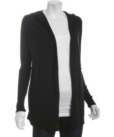 basic black cotton-cashmere hooded long sleeve wrap