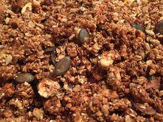 Granola sans gluten bien meilleur que dans le commerce : 2 volumes de flocons de sarrasin, 1/2 de flocons de millet ( ou autres), 1/2 de flocons de châtaigne, des kasha ( graines de sarrasin grillées) Puis des oléagineux en quantité selon le goût. Mélanger avec du sirop d'érable ( + agave 4 CS en tout) et huile de coco 2CS, à ajuster selon quantité du reste. Il faut avoir un mélange légèrement imprégné de sirops et huile. 15 à 20 min à 170 degres.